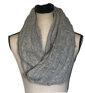Abercrombie Kids Scarf Chunky Knit Infinity Light Gray Winter NWT Girl's Gift