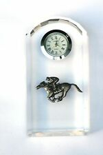 Horse Racing Design Glass Clock Bedside or Desk Top Horse Gift Boxed