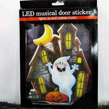 HAUNTED HOUSE LED LIGHT UP MUSICAL DOOR STICKER~Halloween Door Decoration NEW