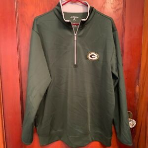 Green Bay Packers NFL Antigua Embroidered 1/4 Zip Leader Pullover Mens Size XL