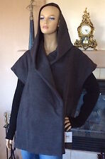 CALVIN KLEIN WOMEN CHARCOAL KNIT SLEEVE COCOON HOODED COAT NWT SIZE XS