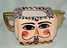 Vtg Hand Painted Teapot Planter/Sundry Holder-Gilt-2 Faces-Mustache Man-No Lid