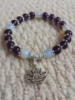 8mm Amethyst & Moonstone Yoga Flex Bracelet with Lotus Flower Pendant + Pouch