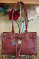 DOONEY AND BOURKE burgundy Pebbled Leather Tassel Small Tote Bag (pu120