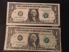 "MATCHING ""0942 0153"" ...2009 ..UNCIRC $1  &  1974 $1 .... SAME SERIAL NUMBER"