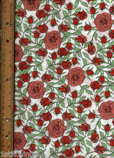 """Large Red Roses on White Quilt Quilting Fabric 2 yards plus 16"""""""