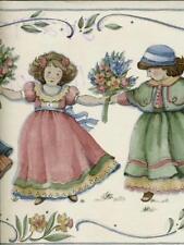 Happy Girls Hand In Hand Wallpaper Border