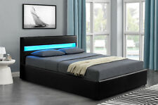Harmin LED Ottoman Bluetooth Music Bed - Black 4ft6 Double Size