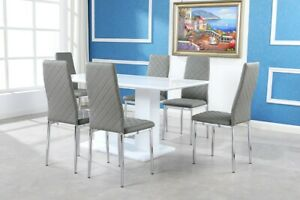 MILAN White High Gloss Dining Table Set And 6 Chrome Leather Dining Chairs