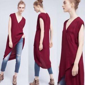 Holding Horses Anthropologie Red Hi Low Wrap Midi Dress XS V-Neck Cap Sleeve