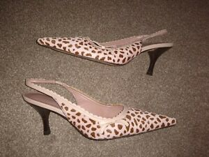 Pair of Moda In Pelle Ponyskin leopard print sling back  Shoes : size UK 5 VGC