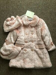 New Couche Tot Designer Girls Fur Coat Hat Bag/Handwarmer Set Pink Age 5-6 BNWT