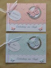 Einladung Zur Taufe Mit Namen Rosa / Blau / Tischkarten (4er Set) /  Gastgeschenk