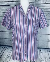 Blair Women's Small Blouse Short Sleeves Button Down V Neck Collared Striped