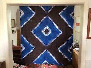 """African indigo dyed damask cloth Sierra Leone Garra cloth approx 46"""" X 120"""""""