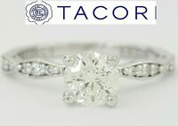 0.72 ct Sculpted Crescent 46-2RD65 TACORI 18K Round Diamond Engagement Ring GIA