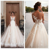 Princess Church Wedding Dresses Lace Applique Beaded Bridal Gown Plus Size