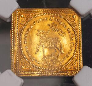 "1700, Nurnberg (Free City). Certified Gold ""Lamb Ducat"" Klippe Coin. NGC AU+"