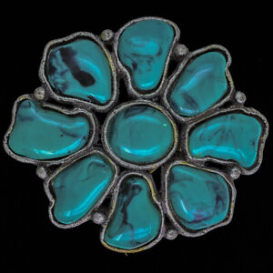 Southwest Tribal Native American Style Faux Turquoise 1990s Vintage Belt Buckle