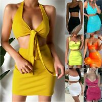 Fashion Womens 2PCS Strappy Crop Top Bodycon Skirt Co Ord Set Party Mini Dress