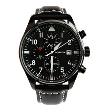 BLACK Aviator's Pilots 43mm CHRONOGRAPH Military Army Vintage Style Quartz Watch