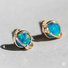 Earth Design Australian Doublet Black Opal & Diamond Stud Earrings in 18K Gold