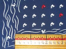Vintage Ladies Red White & Blue tiny FISH Scarf 21 inch square Rolled Hem