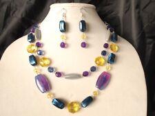 Unicorn Galaxy Acrylic bead Lightweight Purple Blue Yellow Necklace Bib 18 inch
