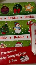 Personalized gift wrap wrapping Christmas xmas NIP Debbie green wreath tree