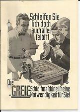 1927 Die Greif Schleifmaschine Prospekt original mini Werbebroschüre antik
