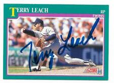 TERRY LEACH 1991 SCORE AUTOGRAPHED SIGNED # 556 TWINS