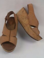 CLARKS Artesian Sz 6 M Brown Caramel Suede Leather Wedge Women's Sandals Z11-6