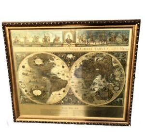 "Vintage Gold Foil Blaeu World Wall Map Circa 1605 Framed Under Glass 23"" X 19"""