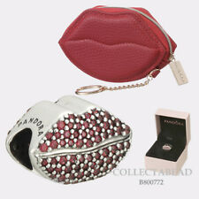Authentic Pandora Kiss More Lips Charm Gift Set with Red Lips Coin Purse B800772
