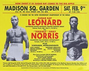 Sugar Ray Leonard vs Terry Norris - MSG Fight Poster - 8x10 color photo
