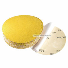 "25Pc 6"" 36 Grit DA Gold A/O PSA Stick On Sandpaper Sanding Disc Made in USA"