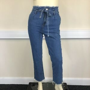 Redial Ladies Blue Denim High Waisted Raw Edge Mom Jeans UK Size 16