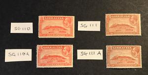 GIBRALTAR KGV 1931 SG110,SG110A, SG111,SG11A MM