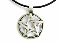 Pentagram Pewter Charm Pendant Amulet & Pvc Choker Necklace Chain Pagan Occult