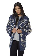 Be You Ladies Aztec Brushed Cardigan  Navy Ivory  Fit Size 8 10