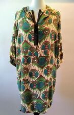 MARNI H&M US 4 EU 34 Tribal Print Hooded Green 100% Silk Parka Dress