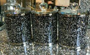 SET OF 3 Diamond Crushed Black Crystal Tea Coffee Sugar Canisters Jars Storage