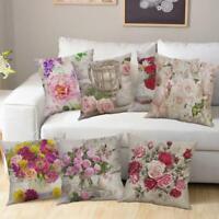 Vintage Flowers Cotton Linen Cushion Cover Throw Pillow Case Sofa Home Decor