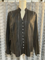 Jaeger Blouse Women's Size Medium Long Sleeve Button Down Shirt Black Vintage