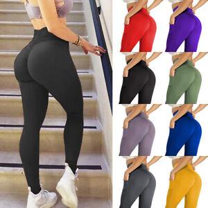 Women High Waist Gym Leggings Pockets Fitness Sports Running Trainer Yoga Pants