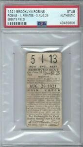 1921 BROOKLYN ROBINS & PIRATES FULLY DATED EBBETS FIELD TICKET - EARLY  RARE PSA
