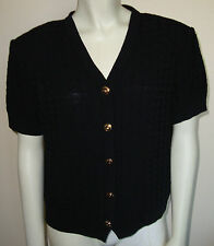 St. John Basics Geometric Textured Black Sweater Short Cardigan Logo Buttons S