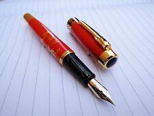 DIKAWEN 850 Red Golden Plum flower Medium nib fountain pen new
