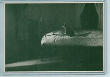 VINTAGE CAT KITTEN ON BED BEDROOM #1 REPRO POSTCARD