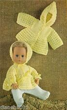 """Doll Clothes Knitting Pattern 4 Piece Doll Clothes 14"""" Baby Doll"""